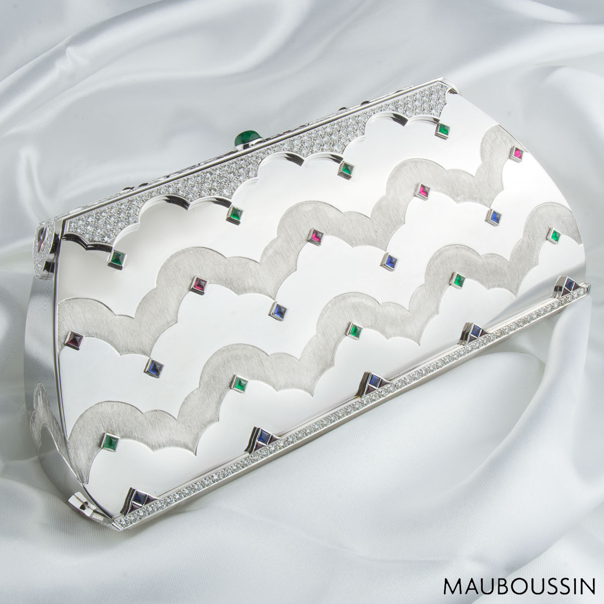 Mauboussin White Gold Diamond, Ruby, Sapphire & Chrysophrase Clutch Bag